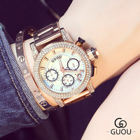 Luxury High Quality GUOU Brand Crystal Bling Rose Gold Steel Quartz Round Dial Wrist Watch Wristwatches