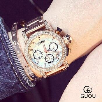 Bling Bling Uhren | Luxus Hohe Qualität GUOU Marke Kristall Bling Rose Gold Stahl Quarz Runden Zifferblatt Armbanduhr Armbanduhren Für Frauen Weibliche 8808