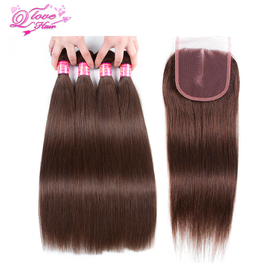 Queen Love Hair Pre-Colored #4 Color Straight Hair Peruvian Non Remy 4 Bundles With Closure 100% Human Hair Extensions