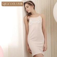 Qianxiu Condole belt Sleepshirts For Women Letter Homewear Modal Cotton Casual Nightgown