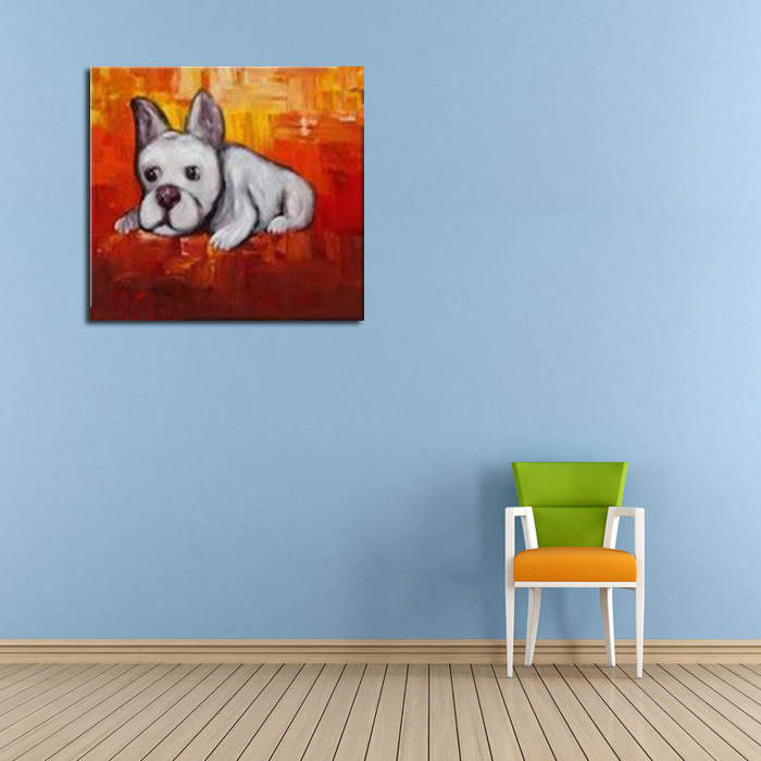 Pop Art Animals Lovely Dog Oil Painting Modern Abstract Handpainted Picture Canvas Decor Free Shipping