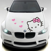 Lovely Hello Kitty Design Car Styling Car Hood Stickers And Decals Car Head Decor For Ford