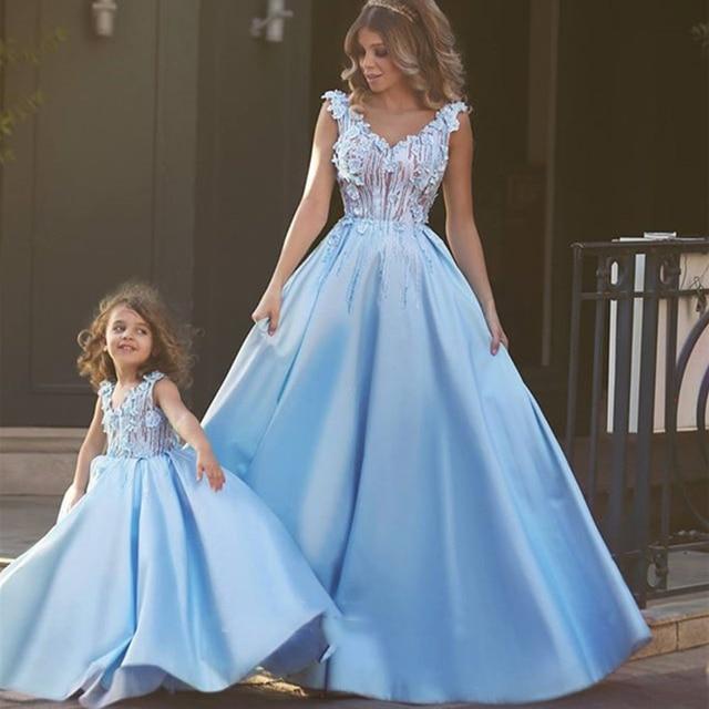 e3b3847e6b 2016 New Lovely Mother Daughter Dresses For Special Party V Neckline A-Line  Satin Sky Blue Prom Dress Matching Dress