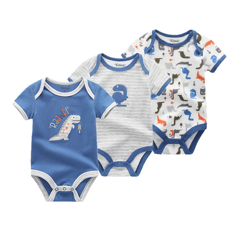 3Pcs Baby Girl Clothes Fashion Infant Unicorn 0-12M Baby Boy Clothes Short Sleeve Baby Bodysuits Roupas De Bebe Clothing Sets