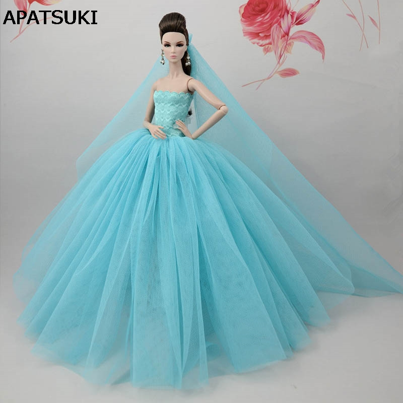 Light Blue Doll Dress For Barbie Doll Long Tail Evening Gown Clothes Wedding Dress +Veil 1:6 Doll Accessories