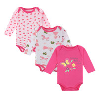 Newborn Baby Girls Bodysuits 2018 Autumn Casual Print Long Sleeves 3 Pieces One Package For 0