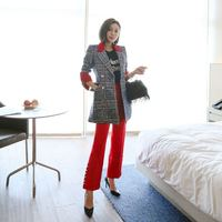 FAshion Fall Winter Women Two Pieces Set Long Sleeve Plaid Woollens Jacket Coat And Red Trousers High Quality Office Lady Suit
