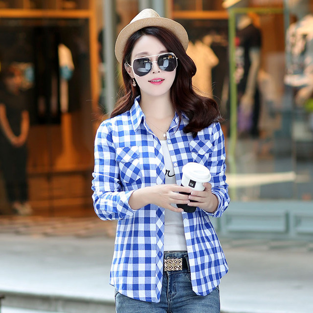 2017 Brand Women Plaid Shirt Flannel Shirt Long Sleeve Blouses Shirt Women Plus Size Cotton Blusas Tops Femininas Chemise Femme Women Shirts