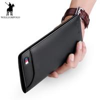 WilliamPolo Fashion Genuine Leather Holders Men Slim Wallet luxury Brand Smart male No Zipper long Purse Credit card holderPL302