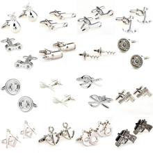 Silver Tools metal cufflink mankiet Link 1 para duża promocja tanie tanio Tie Clips Cufflinks Moda Klasyczny Cuff Links Simulated-pearl Stone Mężczyzn TZG110 Various Stal nierdzewna