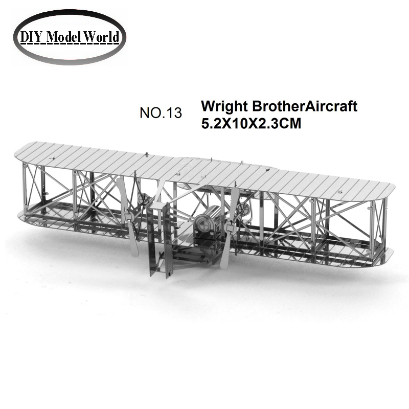 Wright BrotherAircraft 3D puzzle DIY metal plane model jigsaw free shipping best birthday gift for kids