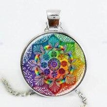Handmade henna yaga necklace om symbol buddhism Mandala Necklace Pendant Art Jewelry Glass Photo Necklace