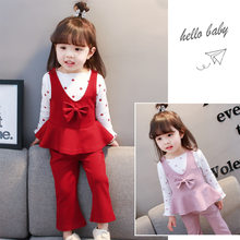 8a2feb994ff 2018 new girls dress ideas bow autumn and winter clothes Korean version of the  tide three-piece suit children baby girl