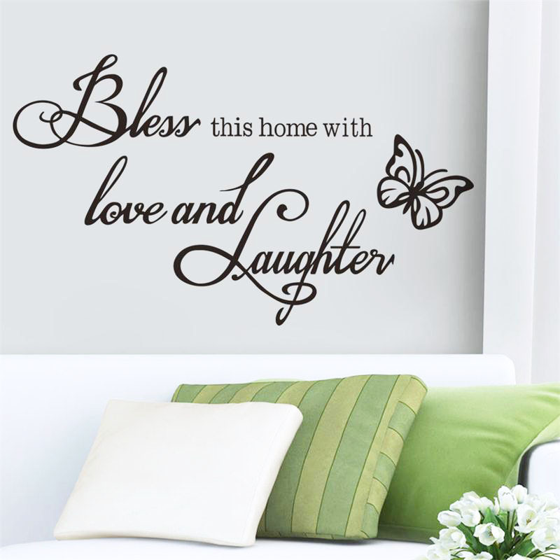 This Home Runs On Love Laughter And Wine Kitchen Wall Sticker Funny Dining Room Quote