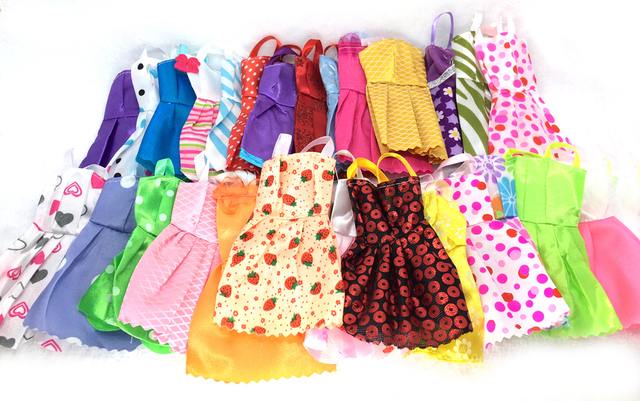 NK 28 Items/Lot=10 Pcs Mix Sorts Beautiful Party Clothes Fashion Dress +6 Pcs Plastic Necklace+12 Pairs Shoes  For Barbie Doll