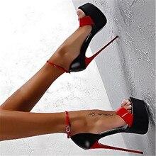 купить Ladies Pumps Summer Women Sandals Sexy Pumps 16cm Women Heels Party Shoes Strappy Heels Red White Wedding shoes size 46 дешево