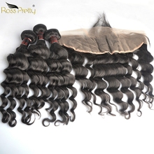 Ross Pretty Brazilian Hair bundles with frontal Pre Pluck Lace Frontal Bundles Remy Human Weave