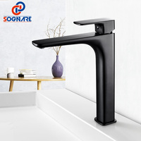 SOGNARE Supper High Quality Tall Sink Faucet Bathroom Basin Faucet Waterfall Faucet Cold Hot Black Taps