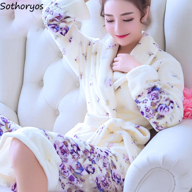 Image 2 - Robes Women Plus Size Print Flannel Korean Kawaii Long Sleeve Thicker Warm Nightwear Soft Bathrobe Womens Simple High Quality-in Robes from Underwear & Sleepwears