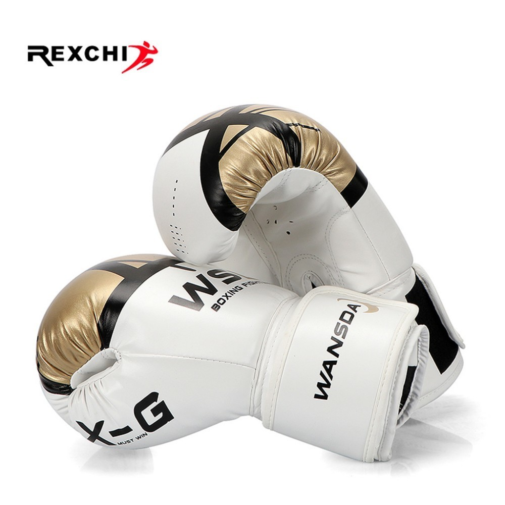 REXCHI Kick Boxing Gloves for Men Women PU Karate Muay Thai Guantes De Boxeo Free Fight MMA Sanda Training Adults Kids Equipment mma boxing gloves pu leather muay thai hand protector guantes de boxeo men women kids training protector gloves10oz 12oz 14oz