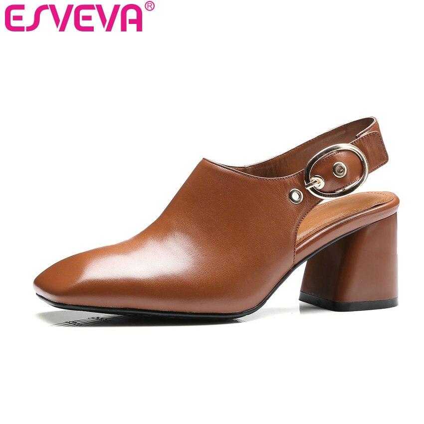 ФОТО ESVEVA 2017  Western Style Slingbacks Women Pumps Suqare Med Heel Genuine Leather Pumps Slip on Women Wedding Shoes Size 34-39