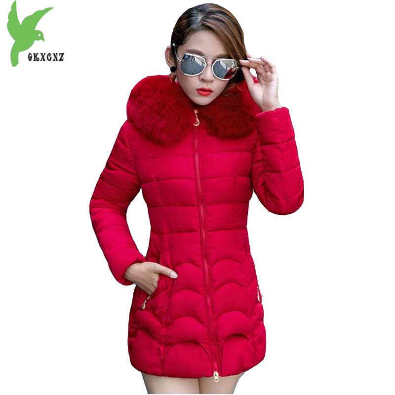 New Winter Women Down Cotton Coat Fashion Solid Color Hooded Fur Collar Casual Jacket Plus Size Thick Warm Slim Coat OKXGNZ A738 winter women s cotton coats solid color hooded casual tops outerwear plus size thicker keep warm jacket fashion slim okxgnz a712