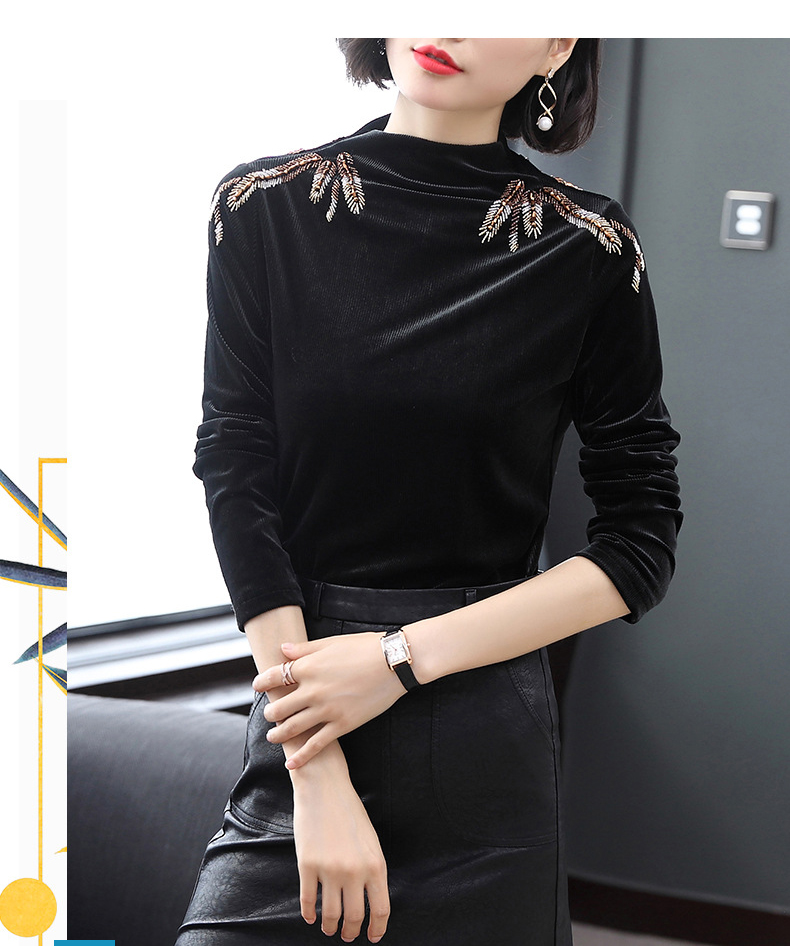 Bouses Haut Minces 2019 Noir Élégant De Solide Chemises Mode Femmes Longues Q501 Manches Velours Décontracté Perle Perles Nouvelle À Printemps Blouse uc35lKJTF1
