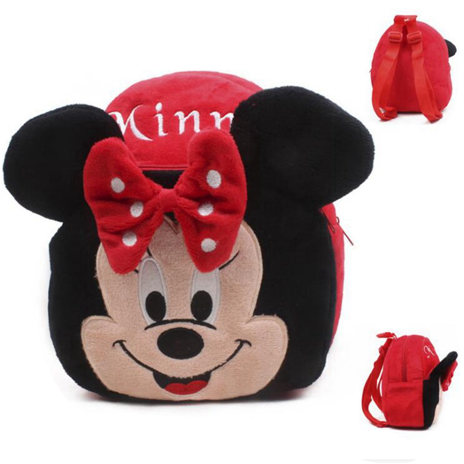Cute Cartoon Baby Minnie School Bag toys Plush Children Mini Backpacks For Kindergarten Boy Girl Shoolbag