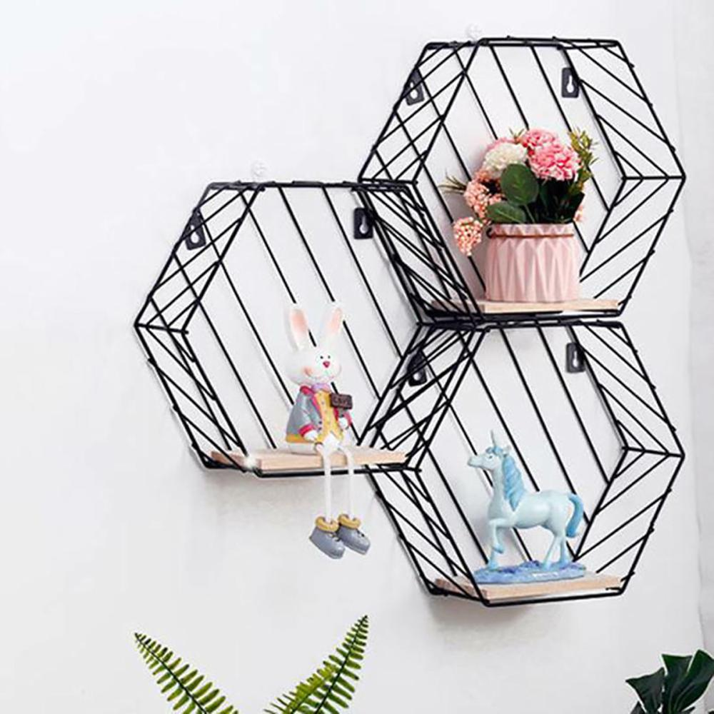 Nordic Racks Wrought Iron Hexagon Grid Wall Racks Home Decoration Background Wall Decoration Storage Rack Shelf @P