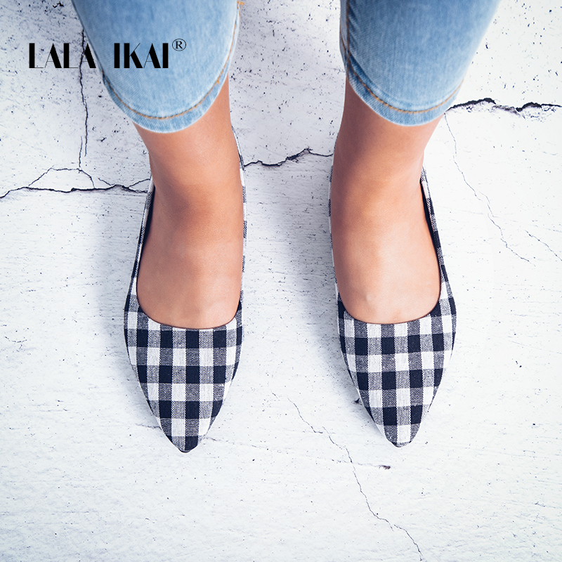 все цены на LALA IKAI Women Flat Shoes Comfortable Slip On Summer Fashion Basic Gingham Shallow Women Pointed Toe Flats 014A1930 -4