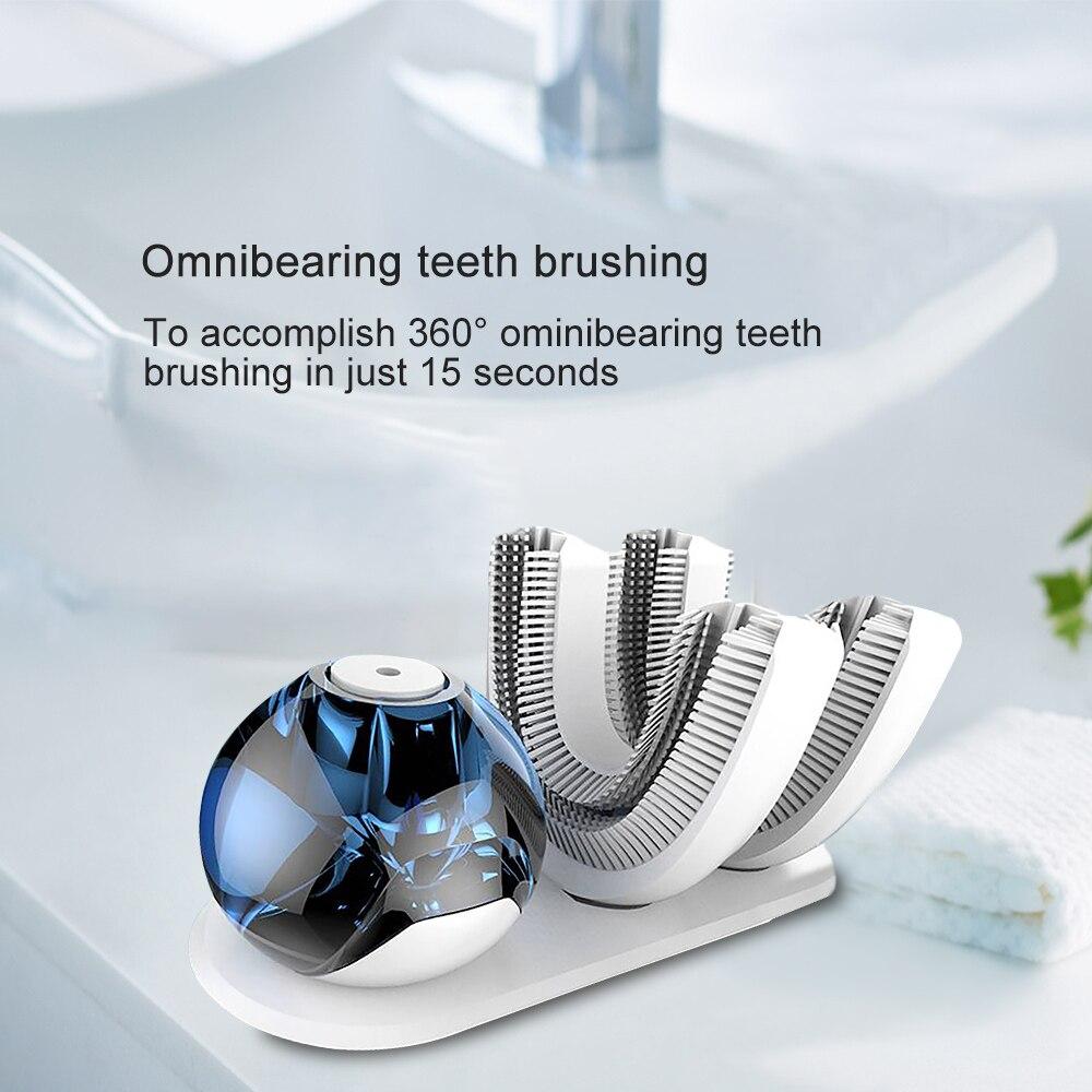 360 градусов Intelligent Automatic Ultra Sonic электрические зубные щётки USB зарядное устройство зубы кисточки головок U Таймер в форме повара 15 секунд