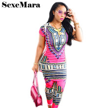 Hot Style Geometric Prints Tracksuit for Woman Pant Suits T Shirt and Leggings Leisure Suit Dashiki Summer Costumes D29-AB29