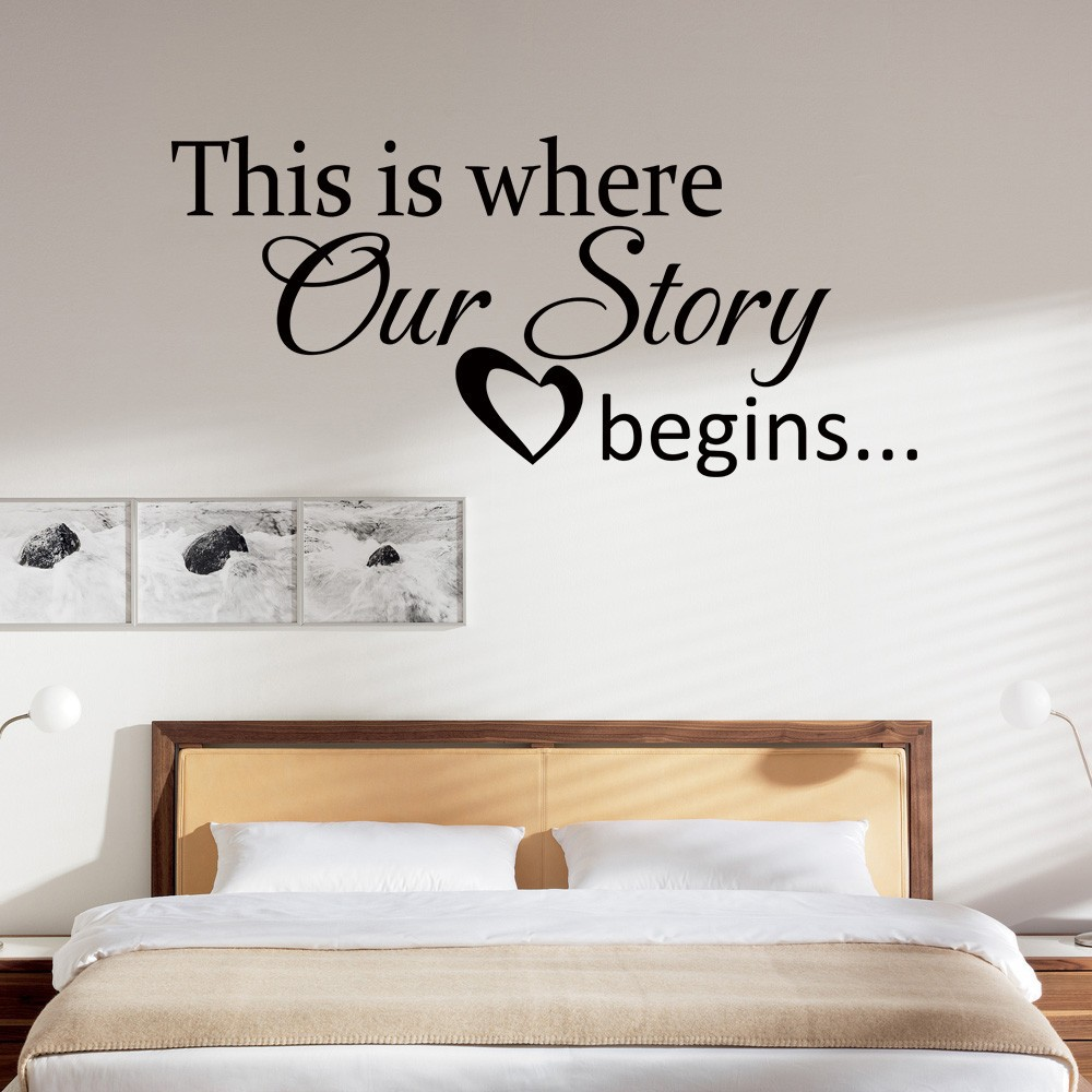 Love wall quote this is where our story begins heart decal for Bedroom wall designs for couples