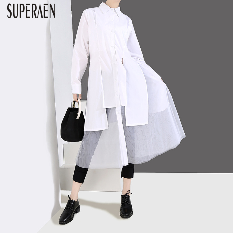 SuperAen 2019 New Spring And Summer Women Shirt Solid Color Wild Casual Blouses Female Europe Mesh Women Clothing
