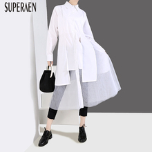 Superaen Casual Blouses Mesh Women Shirt Clothing Spring Solid-Color And Wild Female
