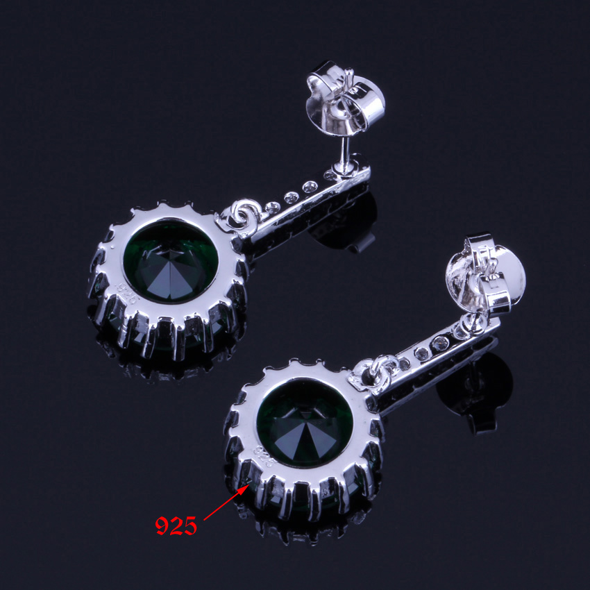 Valuable Round Green Cubic Zirconia White CZ 925 Sterling Silver Stud Earrings For Women V0195 in Stud Earrings from Jewelry Accessories