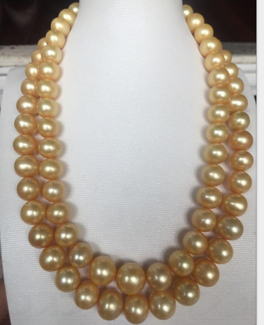 single strand 12-14mm south sea gold pearl necklace 38inch 14ksingle strand 12-14mm south sea gold pearl necklace 38inch 14k