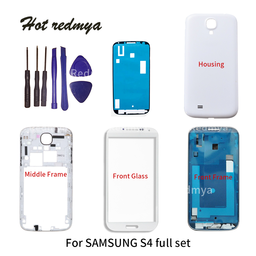 Full Housing For Samsung Galaxy S4 i9500 i9505 Housing Front Plate Bracket Middle Frame Bezel+Back Cover+Outer Glass+ toolsFull Housing For Samsung Galaxy S4 i9500 i9505 Housing Front Plate Bracket Middle Frame Bezel+Back Cover+Outer Glass+ tools