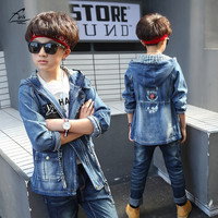 FYH Newest Boys Autumn Spring Hooded Denim Coat School Boys Cowboy Jackets Children S Casual Outwear
