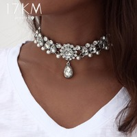 17KM Collar Crystal Choker Necklace &pendant for Women Boho Beads Vintage Simulated Pearl Chokers Statement Jewelry