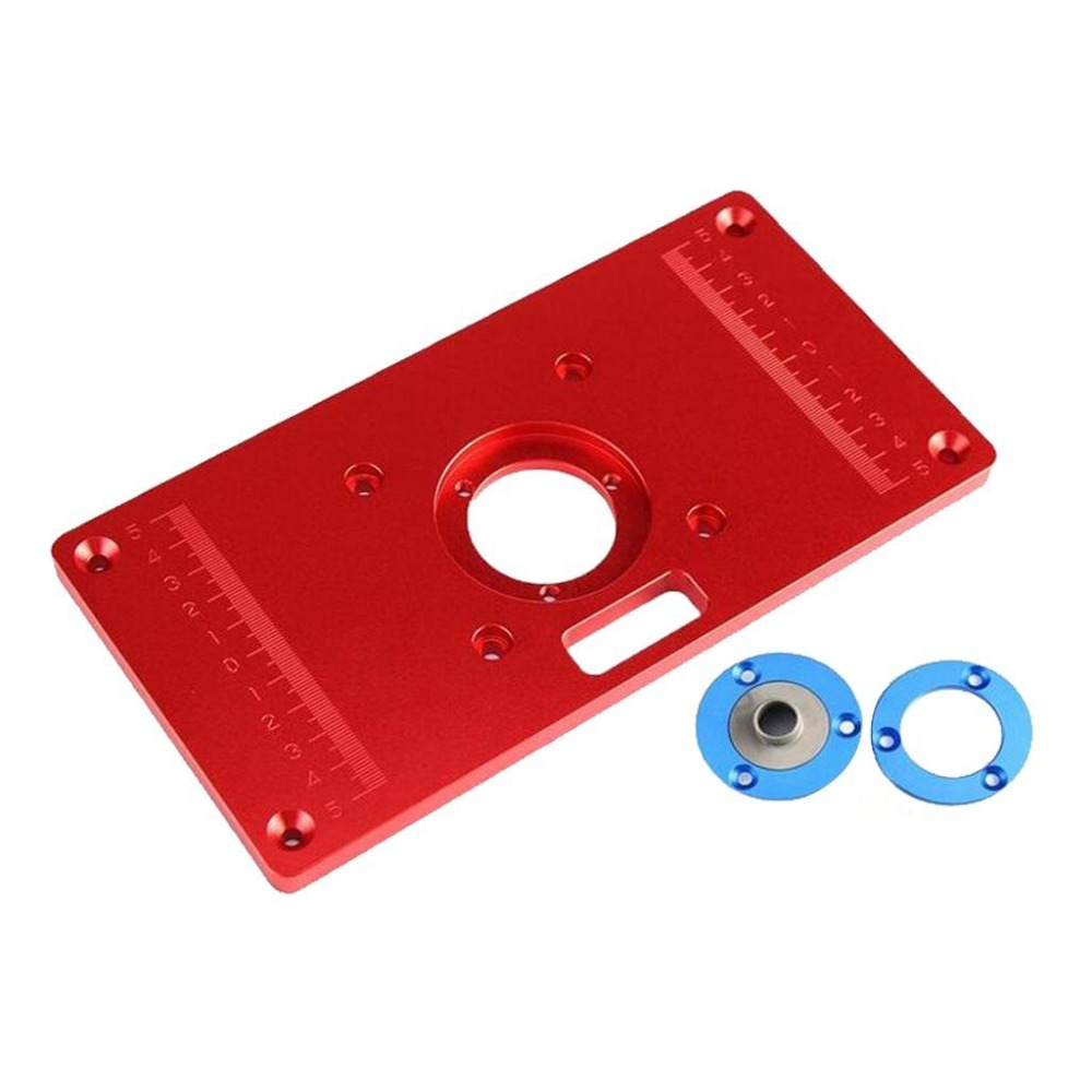 Aluminum Router Table Insert Plate with 2Pcs Insert Ring 1 PCS of 5/8 Axle Sleeve for Woodworking Bench Tools Wood Router Table new woodworking diy tools heavy duty router lift with aluminium router insert plate jf1168