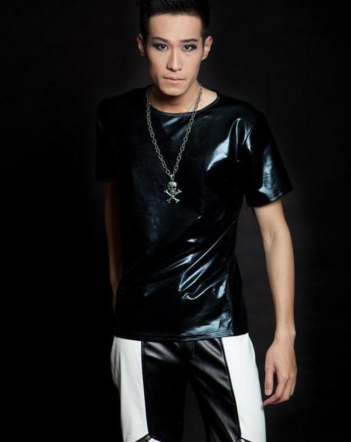 Aliexpress.com : Buy Black Singer stage rock faux leather tshirt ...