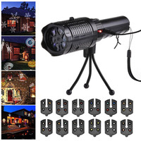 LED Christmas Projector Lights Flashlight with 12 Patterns for Halloween Carnival Birthday Party CLH@8