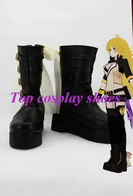 Freeshipping anime RWBY Volume 2 Yellow Trailer Yang Xiao Long Cosplay Shoes  Boots Hand made for