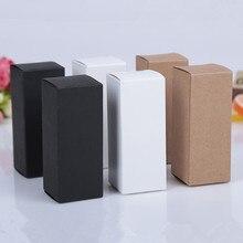 100 adet 10ML 100Ml 18MM kauçuk kafa damlalıklı uçucu yağ şişe ambalajlama kutusu kozmetik Kraft karton beyaz kutu kara kutu