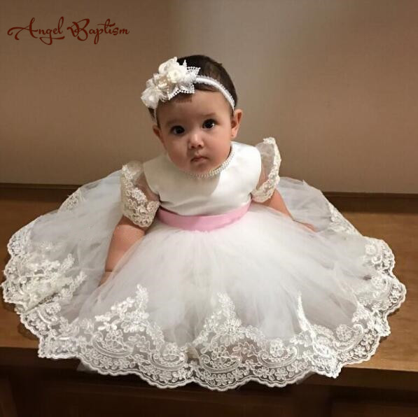 Vintage ivory short sleeves newborn infant blessing outfit baby christening   dress   baptism gown lace appliques   flower     girl     dress