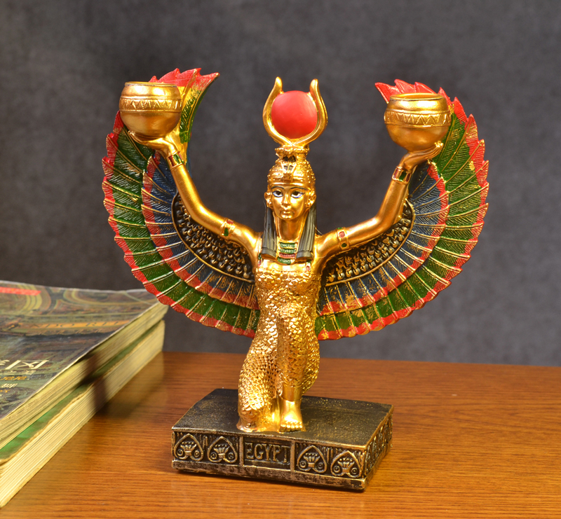 Hand painting Golden Resin Isis Figurine Ancient Egypt Mother Worship Birth Goddess Model Classic Decoration Craft Free shipping resin assembly kits 1 9 200mm police girl 200mm unpainted kit resin model free shipping