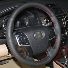 BANNIS Black Artificial Leather DIY Hand-stitched Steering Wheel Cover for Toyota Camry 2012-2015