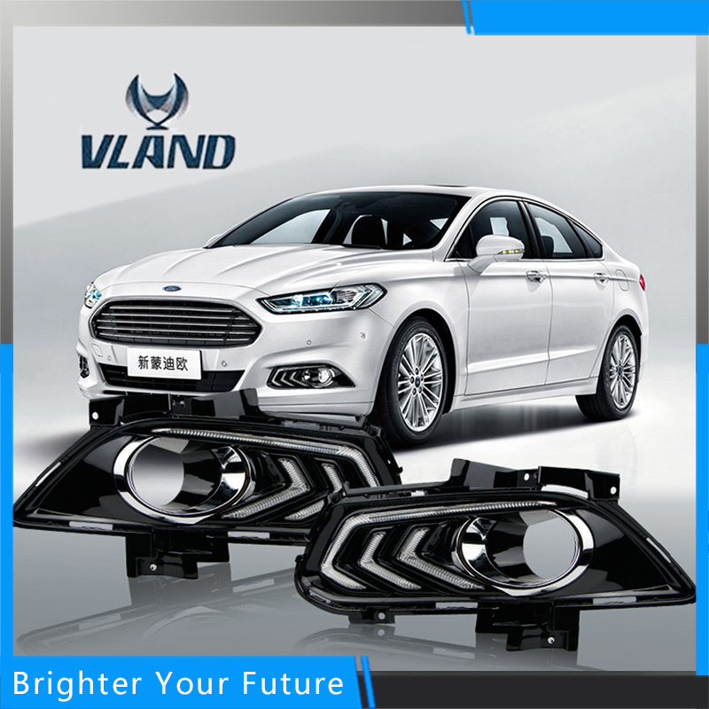 Car Accessories Waterproof Daytime Running Fog Light Lamp DRL Yellow Turn Signals For Ford Mondeo 2013-2016 Dimming Style Relay for ford fusion 2013 16 guiding light daytime running lights drl turn signals 2x