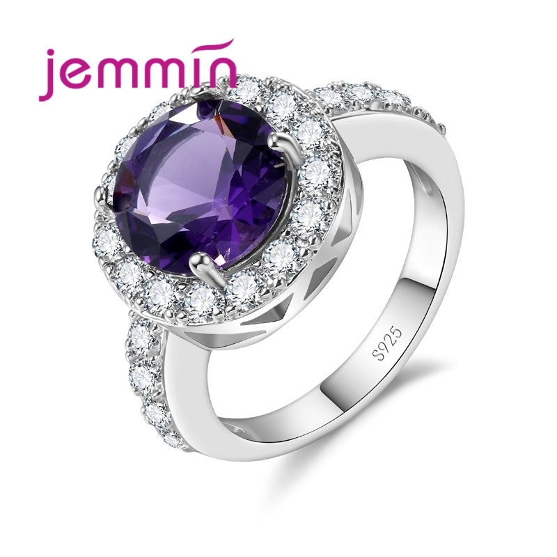 Shiny Round Austrian Crystal Wedding Bridal Classic Ring High Quality 925 Sterling Silver Brand Jewelry For Women Gift